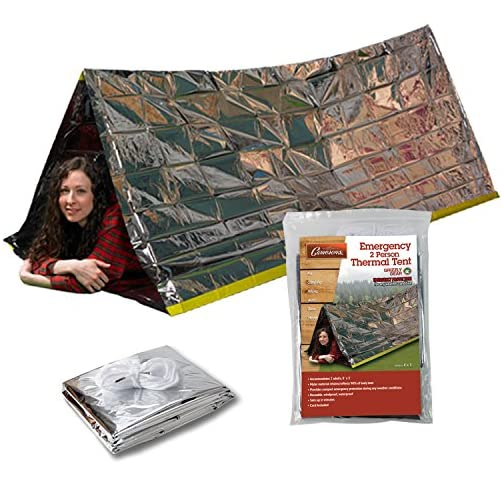 Grizzly Gear Emergency Thermal Tent | Weatherproof Mylar Disaster Survival 2-Person Bivouac | 8 ft x 3 ft | Compact… 2