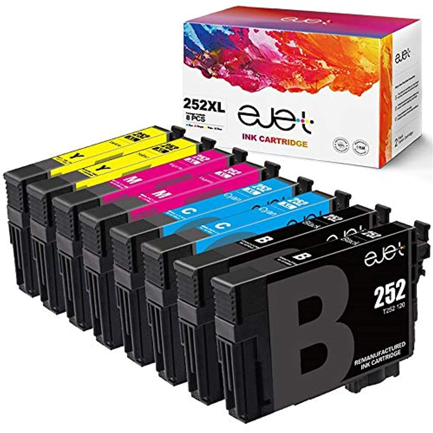 ejet Remanufactured Ink Cartridge Replacement for Epson 252XL 252 to use with Workforce WF-7710 WF-7720 WF-3620 WF-3640 WF-7610 WF-7620 WF-3630 Printer (2 Black, 2 Cyan, 2 Magenta, 2 Yellow) 8 Pack
