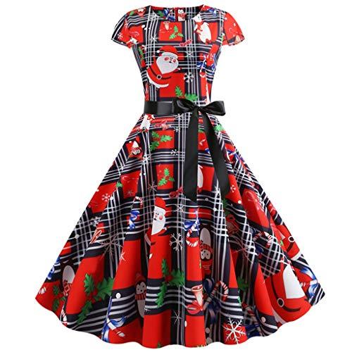 Xiangdanful Damen A-Linie Kleid 50er Jahre Petticoat Rockabilly Cocktailkleid Weihnachtskleid...