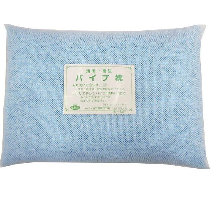 動脈楕円形申請中日本製 洗える パイプ枕 ブルー 35×50