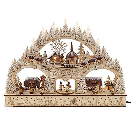 Holz Schwibbogen Winterstadt mit Winterfiguren (Laserholz) 60 x 10 x 43 cm Batteriebetrieb AA inkl. Adapter 45 V LED Bewegung So& - Vogtlandsouvenir