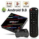 H96 Max+ TV Box Android 9.0 [4GB RAM+64GB ROM] 4K Ultra HD Boîtier TV RK3328 Cortex-A53 64 Bits Quad-Core Bluetooth 4.0 Dual Band WiFi 2.4G/5GHz LAN100M USB 3.0 with Wireless Mini Backlit Keyboard