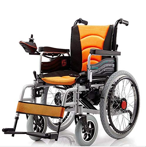 Best Deals! GJX Electric Four-Wheeled Wheelchair, Metal Folding Scooter, Elderly Lightweight Electri...