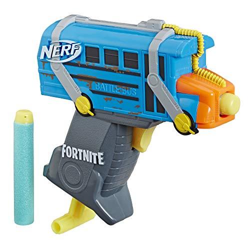 Fortnite Micro Battle Bus Nerf Microshots Dart-Firing Toy Blaster & 2 Official Elite Darts for Kids, Teens, Adults