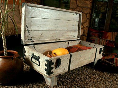 Alte Truhe Kiste Tisch shabby chic Holz Beistelltisch Holztruhe Couchtisch 39 cm Höhe / 41 cm Tiefe / 97 cm Breite - 5