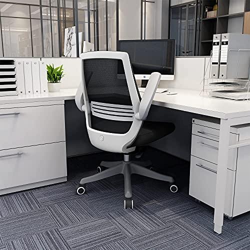 SIHOO Chaise de Bureau rotative à 360 °, Siege de Bureau Ergonomique en Maille avec Support Lombaire Confortable, accoudoirs Pliables et réversibles, Fauteuil de Bureau avec Roues en Nylon(Noir)