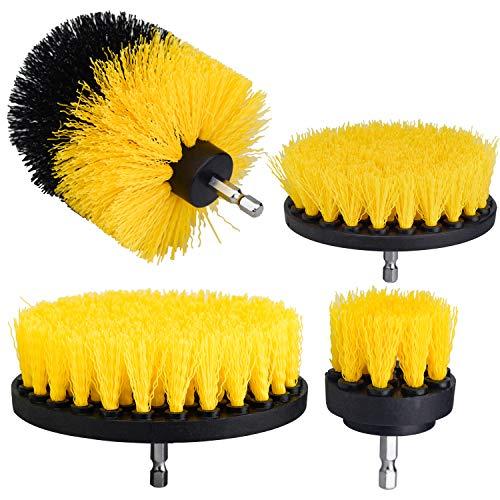 DESON 4 Stück Bohrbürsten Bohrmaschine Bürstenaufsatz Drill Brush Befestigung Scrubber Reinigungsbürste Felgenbürste Set Für Autos Küchen Fliesen Teppiche