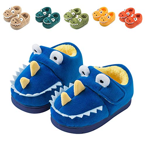 Fadezar Zapatillas De Estar por Casa para Niñas Niños Invierno Pantuflas Animales Antideslizantes Cálido Slippers Azul oscuro23/24
