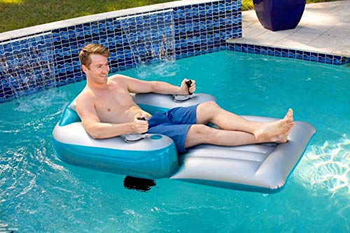 Poolcandy Splash Runner 2.5 Motorized Inflatable Pool Lounger, Water Hammock Raft for Pool or Lake, Toy for Adults & Kids, Lightweight, Durable, Propellers Enclosed w/Safety Grill, Batteries Required