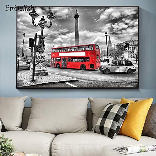 HllhPC (Nessuna fotolijst) in Offerta! Red Street London Bus HD canvas voor de woonkamer, moderne inrichting, wandschilderingen, slaapkamer
