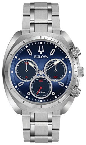Bulova Men's Curv Collection Analog-Quartz Watch with Stainless-Steel Strap, Silver, 22 (Model: 96A185) -  Bulova Corporation