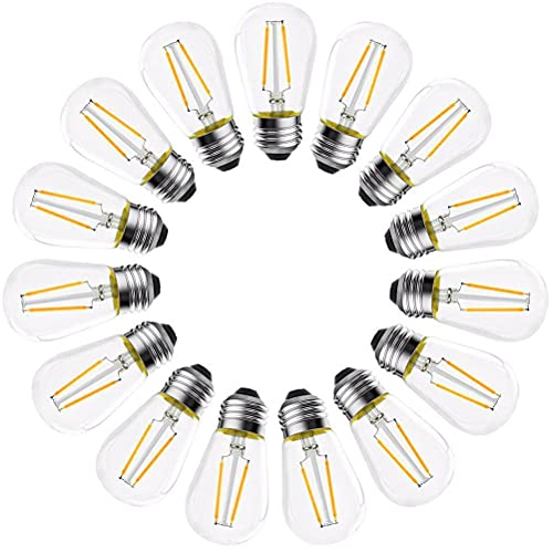 VOUNEDA Bombillas Tornillo Edison,Bombillas Repuesto filamento Vintage Luces Cuerda para Exteriores, Paquete de 15 Bombillas de Repuesto S14 LED E26 de 2 W Edison para Luces de Cuerda para Exteriores