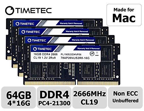 Timetec Hynix IC für 2019 iMac 27 Zoll mit Retina 5 K Display, Ende 2018 Mac Mini DDR4 2666 MHz PC4-21300 2Rx8 CL19 1,2 V SODIMM Arbeitsspeicher RAM Upgrade 64GB KIT(4x16GB)