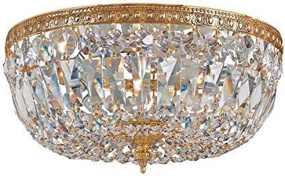 Crystorama 712-OB-CL-I 3 Light Clear Italian Crystal Brass Flush Mount, Olde Brass