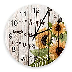 Retro 12 Inch Waterproof Wall Clock, Silent Non-Ticking Battery Operated for Home Classroom Conference Room Wall Decorative Clock - Sunflower on Retro Wooden Board Live Simply Laugh Often Love Deeply