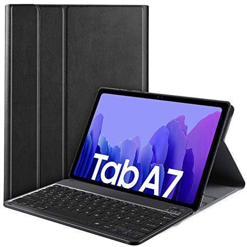 IVSO Tastatur Hülle für Samsung Galaxy Tab A7 10.4 2020, [QWERTZ Deutsches], Samsung Galaxy Tab A7 T505/T500/T507 10.4 Zoll 2020 Tastatur Hülle, Schutzhülle mit abnehmbar Tastatur, Schwarz