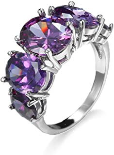 925 Sterling Silver Amethyst Ring Oval Perfect Cut 2Ct Cubic Zirconia Rings CZ 5-Stone Eternity Engagement Wedding Band Ri...