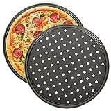 Teglia per Pizza, NALCY 2 Teglie per Pizza Rotonde Forate Antiaderenti, Utensili per Pancake in Acciaio al Carbonio, Teglie per Pizza Forate per Forno, Utensili da Cucina