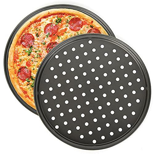 Bandeja para Pizza, Bandeja para Hornear Pizza Antiadherente NALCY, Bandejas para Pizza Perforadas para Horno, Bandeja Crujiente para Pizza Crujiente de 11 Pulgadas (2pc)