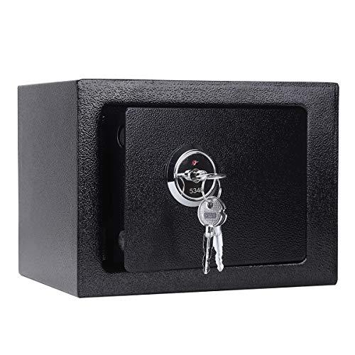 Allright Möbeltresor Doppelbartschloss Schlüssel Dokumententresor Wand Safe Geldschrank Sicherheitsstufe Safe Tresor,23 x 17 x 17,3 cm