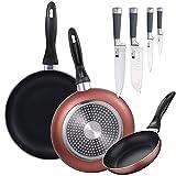 Set 3 sartenes Ø16/20/24 cm, aluminio prensado, aptas para inducción + Set 4 cuchillos de cocina: Chef, Santoku, Pelador y muliusos, mango con silicona