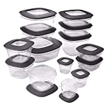 Rubbermaid 1951294 Premier Meal Prep Food Storage Containers, 28-Piece, Assorted, Grey