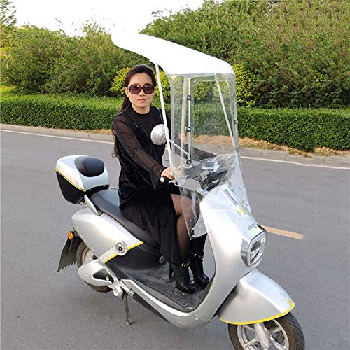 Mnjin General Fully Transparent Electric Motorcycle Sunshade Cover, Sun Shade Rain Cover, Scooter Rain Waterproof Cover, White
