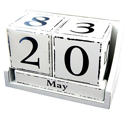 BOLTZE GRUPPE GmbH Dauerkalender Würfel im Antik Stil Stehkalender Shabby Look Kalender für Ihren Schreibtisch (Weiss)