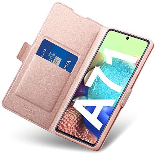 Funda Samsung Galaxy A71, Funda Samsung A71 Libro, Carcasa A71 con Cierre Magnético, Tarjetero y Suporte, Capa Plegable Cartera, Flip Phone Cover Case, Tipo Étui Piel, PU TPU Protección. Oro Rosa
