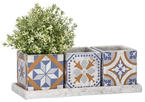 Fallen Fruits Esschert Design AC179 portugiesische Fliesen 3-er Set Blumentöpfe auf Tablett, Beton