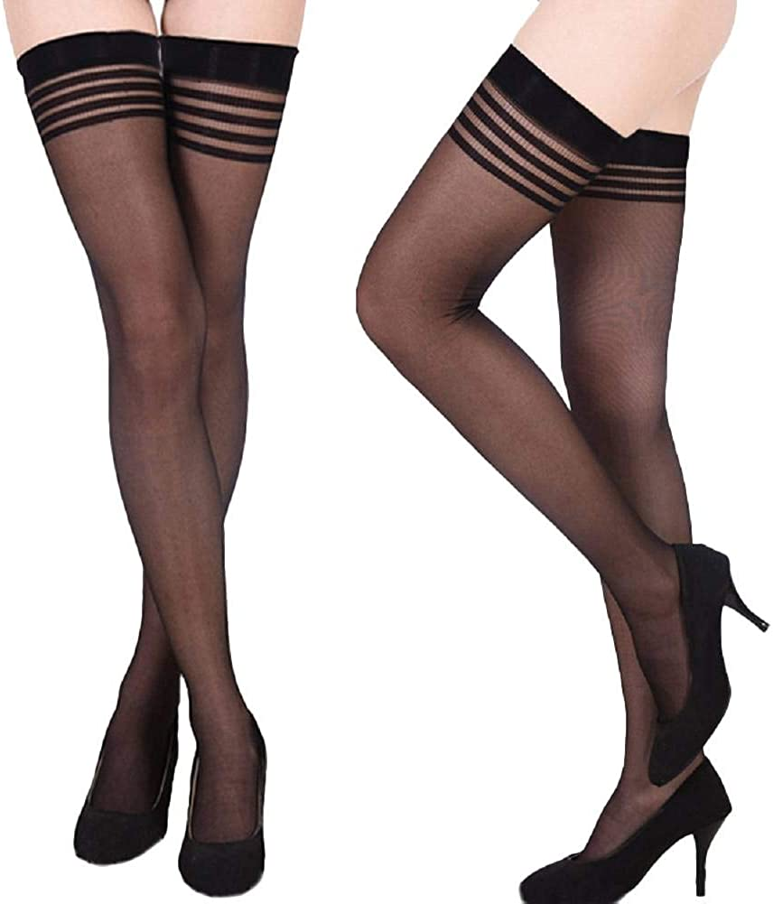 Eliffete Women's Thigh High Sheer Lace Top Tight Socks Over the Knee Stockings