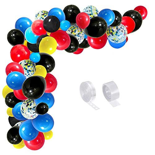 GREMAG Balloons Arch Kit, 105PCS Black Red Blue Garland Kit Balloons Arch Kit, Latex Balloons Party Balloons for Birthday Decoration Party Supplies Wedding Party Decoration Supplies