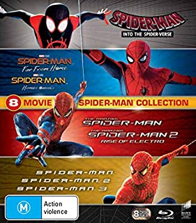 Spider-man - 8 MOVIE PACK Collection Box Set Blu-ray Into The Spider-Verse Far From Home Homecoming Amazing Spider-man 1