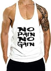Hombres Culturismo Camisetas de Tirantes Deportivo Fitness Gimnasio Chaleco Texto NO Pain NO Gain