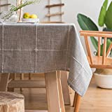 ColorBird Solid Embroidery Lattice Tablecloth Cotton Linen Dust-Proof Checkered Table Cover for Kitchen Dinning Tabletop Decoration (Rectangle/Oblong, 52 x 102 Inch, Gray)