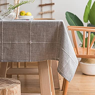 ColorBird Solid Embroidery Lattice Tablecloth Cotton Linen Dust-Proof Checkered Table Cover for Kitchen Dinning Tabletop Decoration (Rectangle/Oblong, 52 x 86 Inch, Gray)