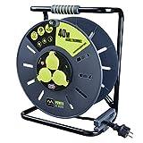 Luceco Masterplug Pro-XT OME25163IP-PX Prolunga Elettrica con Avvolgicavo da Giardino, 40 m, 3 Prese Schuko con Copripresa Impermeabile IP44, Interruttore di Alimentazione, Protezione Termica