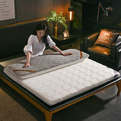 RYUXUI Double Mattress Tatami Mattress Linen Knitted Fabric Mattress Breathable Skin-friendly Mat Sleeping Pad, Support And Better Overnight Recovery (Color : B, Size : Super King (180 x 200cm))