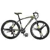 Eurobike Mountain Bikes X1 21 Speed Bicycle 27.5 Inches 3 Spoke Wheel Dual Disc Brake Bicycle Blackyellow