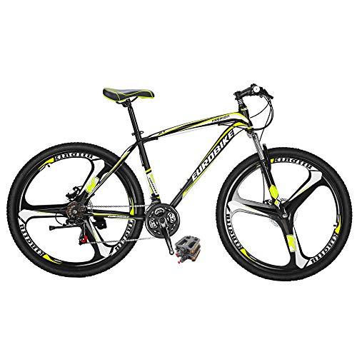 Eurobike Bikes HYX1 27.5 Inches 3 Spoke Wheels 21 Speed Mountain Bike Dual Disc Brake Bicycle Black...