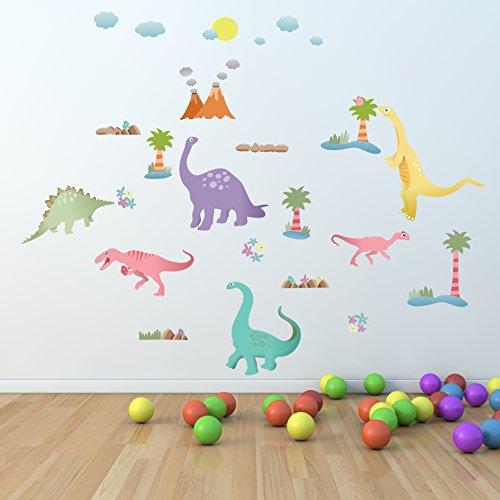 Walplus Happy dinosaurios niños niños Bebés habitación Guardería cómic Toy Store oficina decoración extraíble autoadhesiva decoración Mural arte vinilo pegatinas de pared, multicolor, 150x 110cm