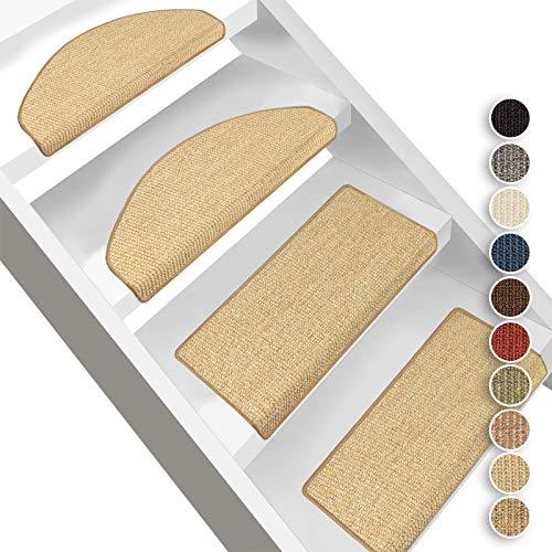 Floordirekt Sisal-Stufenmatten Pure Nature | Halbrund oder Eckig | Treppenmatten in 10 Farben | Stufenteppich aus natürlicher, robuster Sisalfaser (Eckig mit Lippe 65 x 23,5 cm, Natur)