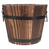 NICEXMAS - Secchio in legno, fioriera, rotondo, in legno, da giardino, vaso di fiori rustico, contenitore per fiori / piante in legno, misura L