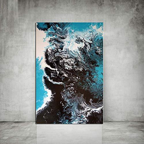 SADHAF Abstraktes farbiges Ölgemälde, Leinwand, Kunstdruck, für Wohnzimmer, Nordic Art, Ozeanwand, Foto, A1, 30x40cm (pas de cadre)