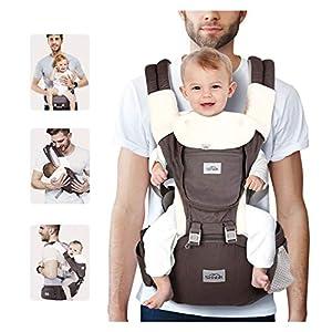 SIMBR Mochila Portabebés Multifuncional 12 en 1, Portabebés Ergonómico para Bebés de 3-36 Meses, Cinturón Ajustable y 3D…