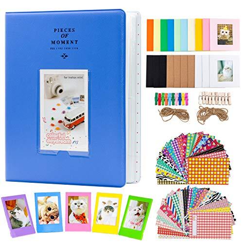 Amimy Photo Album Accessories Conjuntos de Juegos para Fujifilm Instax Mini 7s 8 8+ 9 25 50s 70 90, Polaroid Snap PIC-300, Kodak Mini Película de 3 Pulgadas (128 Bolsillos, Azul Cobalto)
