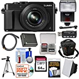 Panasonic Lumix DMC-LX100 4K Wi-Fi Digital Camera (Silver) with 64GB Card + Case + Flash & Soft Box + Battery + Tripod + Kit
