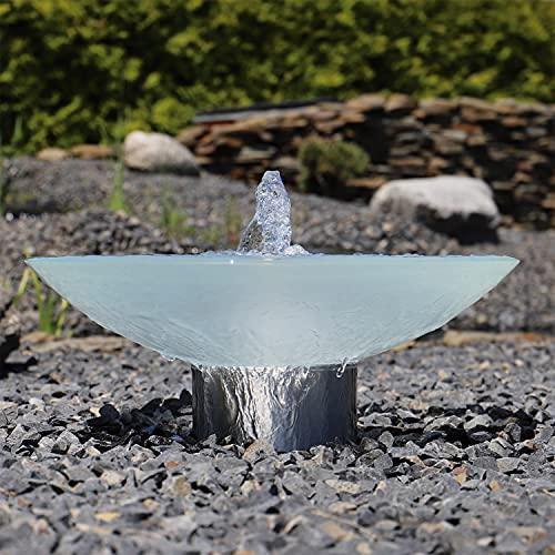 CLGarden Springbrunnen Glas Wasserschale SBGWS1 Garten Brunnen Schale mit LED Beleuchtung