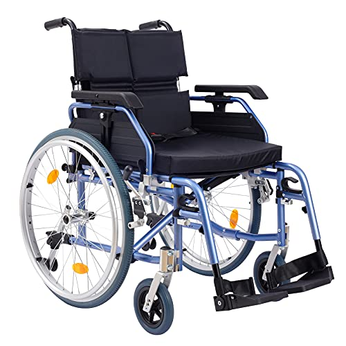 Medwarm Aluminum Multifuctional Manual Wheelchair with Flip Back Armrests, Swing Away Footrests and 24 Inch Rear Wheels, Blue
