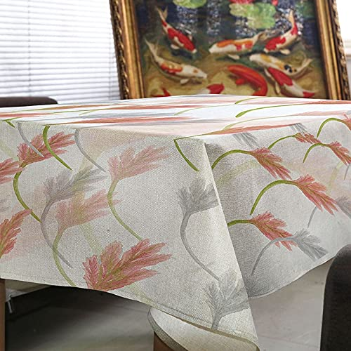 Mantel Minimalista nórdico, Mantel Rectangular de Lino con Estampado de Hojas Verdes, Juego de Mesa de Comedor de Cocina, Textil M 140x240cm